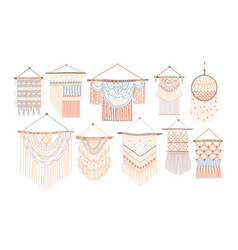 Collection of macrame wall hangings bundle of vector