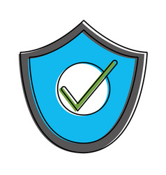 color shield and padlock object to security vector image