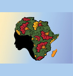 Concept african woman face profile africa map vector