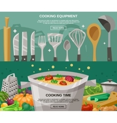 Cooking Equipment And Time Banners Set vector image
