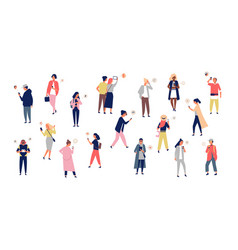 crowd young men and women holding smartphones vector image