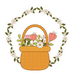 Cute basket straw with flowers garden and crown vector