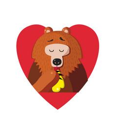cute cartoon bear eating honey inside of red vector image