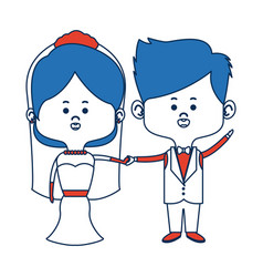 Cute couple husband wife in wedding suit happy vector