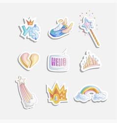 Cute girl princess icon set collection of vector