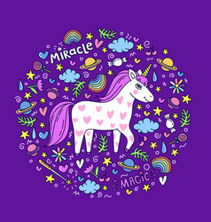 Cute handdrawn unicorn unicorn and magic stuff vector