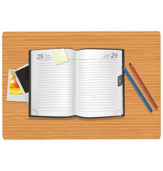 Dairy and office supplies on desk vector