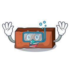 Diving brick character cartoon style vector