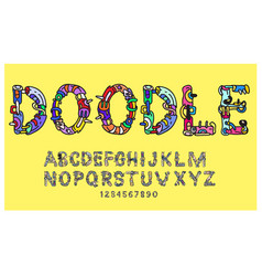 Doodle colorful font cartoon typography for title vector
