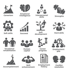 Employment icons set on white background vector