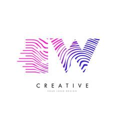 Ew e w zebra lines letter logo design with vector