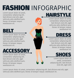 fashion infographic with redhead woman vector image
