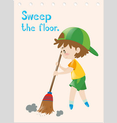 Flashcard of boy sweeping floor vector