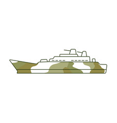 flat camouflage warship boat 23 of february vector image