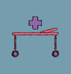 Flat shading style icon medical stretcher with vector