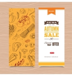Flyer template with organic vegetables vector image