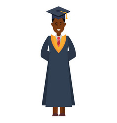 Graduate man college with robe and hat vector
