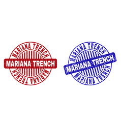 Grunge mariana trench scratched round watermarks vector