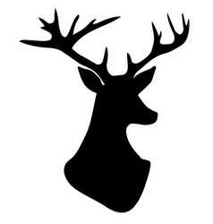 hand drawn silhouette of head of reindeer vector image