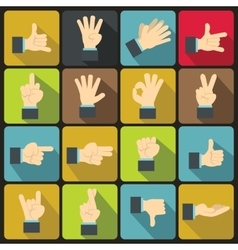 Hand gesture icons set flat ctyle vector image