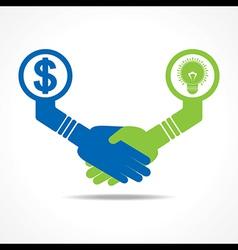 handshake between men having idea and money vector image