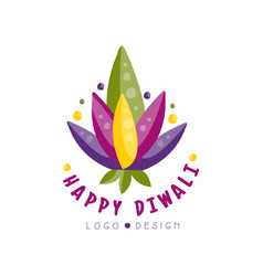 Happy diwali logo design festival of lights label vector