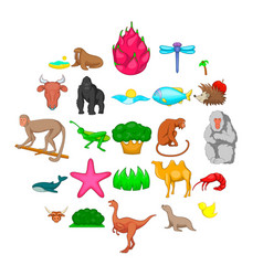 Herbivore icons set cartoon style vector