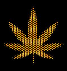 Hexagon halftone cannabis icon vector