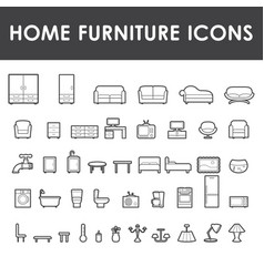 Home furniture outline icons vector