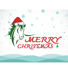 Hores merry christmas vector image