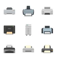 Inkjet printer icon set flat style vector