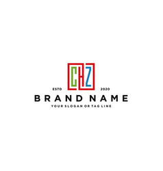 Letter chz square colorful logo design vector