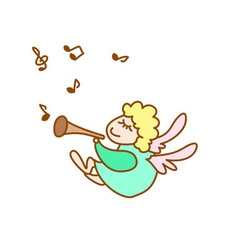 little flying angel with flute and note vector image
