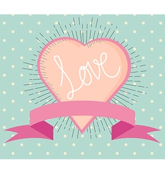 love heart vintage style with hand writing love vector image vector image