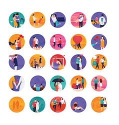 love stories flat icons vector image