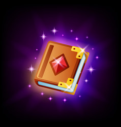 Magic spell book icon ui element for game vector