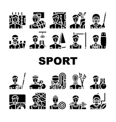 Male sport activities collection icons set vector