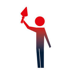 man pictogram holding trowel construction tool vector image