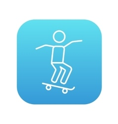 Man riding on skateboard line icon vector image