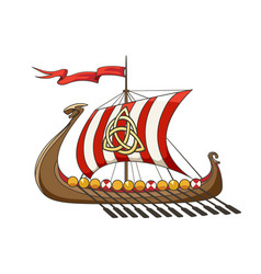 Medieval viking drakkar ship vector
