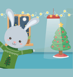 merry christmas celebration cute rabbit glowing vector image