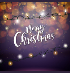 merry christmas with glowing colorful vector image