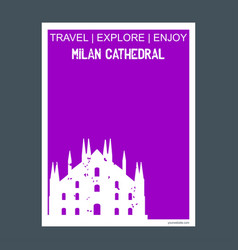 Milan cathedral italy monument landmark brochure vector