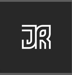 Monogram logo jr or rj letters initials two vector