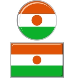 Niger round and square icon flag vector