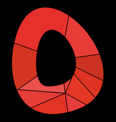 O red alphabet letter isolated on black background vector