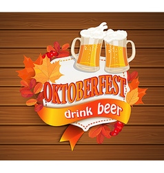 Octoberfest vintage frame with beer vector