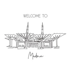 One single line drawing masjid al nabawi landmark vector