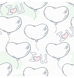 Outline seamless pattern with heart balloons vector image