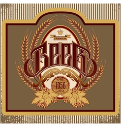 Oval label with ornament inscription for beer vector